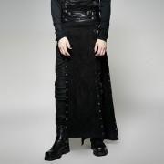 Punk Rave Warrior Eyelets Buckled High Split Long Kilt Black Q-298