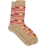 Soxytoes Terribly Tribal Beige Cotton Calf Length Pack of 1 Pair Tribal for Men Formal Socks (STS0019D)