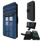 Motorola Moto G5 Plus 5.2 Book Style Purse Wallet Pouch Portefeuille Poche Flip Coque Flip Case Carte De Crédit Coque [000567 - Doctor Who Tardis Police Call Box]