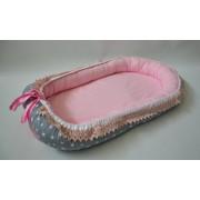 Baby Nest 0-6 luni Gri cu Stele Roz si dantela DeLux
