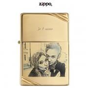 Briquet ZIPPO gravé et personnalisé polish doré avec slashes