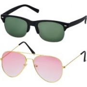 Freny Exim Clubmaster Sunglasses(Green, Pink)