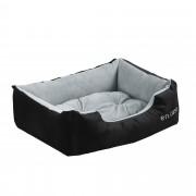 [en.casa]® Легло за кучета и котки, 50 x 38 x 17 см, Черен/Сив