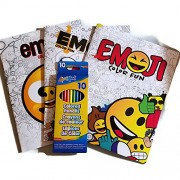Emoji Color Fun Coloring Books (3 total) and Liqui-Mark Ten (10) pack of colored pencils by Emoji Color Fun and Liqui-Mark