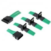 Cablu adaptor BitFenix Alchemy 4-pini Molex la 4x SATA, 20cm, verde, BFA-MSC-M4SA20GK-RP