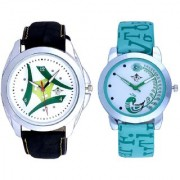 Green Tri Fan Stylish With Lite Green Peacock Feathers Couple Casual Analogue SCK Wrist Watch
