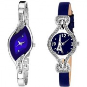 New Blue Leather And Metal Strep Branded type Analog Combo Watch For Women Girls
