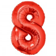 8. szám, fólia lufi, 102 cm, piros