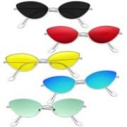 Elligator Cat-eye, Oval, Round Sunglasses(Red, Yellow, Blue, Green, Black)