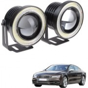 Auto Addict 3.5 High Power Led Projector Fog Light Cob with White Angel Eye Ring 15W Set of 2 For Audi NA