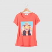 """T-shirt met """"dame met hoed"""" print"""