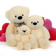 2 Feet, 3.5 Feet and 5 Feet Peach Bow Teddy Bear Family