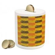 Lunarable Retro Piggy Bank, Modern Style Bulls Eye Pattern Warm Colors Vintage Abstract Round Motifs, Printed Ceramic Coin Bank Money Box for Cash Saving, Yellow Orange Black