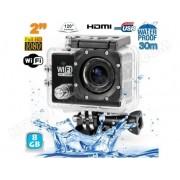 YONIS Camera sport wifi étanche caisson waterproof 12 MP Full HD Noir 8Go