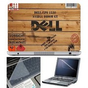 FineArts Laptop Skin Dell Wooden With Screen Guard and Key Protector - Size 15.6 inch