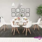 vidaXL 7-Dijelni Blagovaonski Set Stol i Stolice Bijeli
