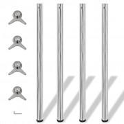 vidaXL 4 Height Adjustable Table Legs Chrome 1100 mm