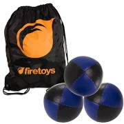 Juggling Ball Set 3x Blue/Black Juggling Balls & Firetoys Bag
