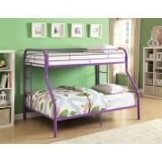 Tritan collection twin over full purple finish tubular metal design bunk bed