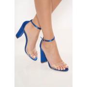 Sandale albastre elegante din piele ecologica cu barete subtiri cu toc gros