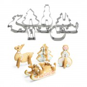 Sunglory 8 STKS 3D Kerst Cookie Cutter Set DIY Rvs Biscuit Mold Cake Decoratie Cookie Mould Bakken Tools Fondant sunglory