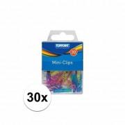 Merkloos Gekleurde plastic mini knijpertjes 30x