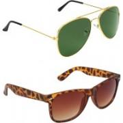 Abner Aviator, Wayfarer Sunglasses(Green, Brown)
