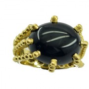 Black Onyx Gold Pleted Ring well-favored Black gemstones Indian gift