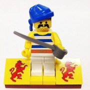"Minifigure Packs: Lego Pirates Bundle ""(1) Pirate Refugee W/Blue Bandana"" ""(1) Figure Display Base"" ""(1) Figure Accessory"""