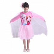 Fancydresswale Frozen Queen elsa Long Sleeve Pink Costume with Attached Cape