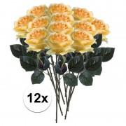 Bellatio flowers & plants 12x Gele rozen Simone kunstbloemen 45 cm