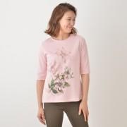 フラワー ラウンドネックシンプルTシャツ【QVC】40代・50代レディースファッション