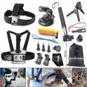 Kit de accesorios de camara de deportes en exteriores 16-en-1 para GoPro Hero 1 ~ 4/4 Session? SJCAM? Xiaoyi - Negro