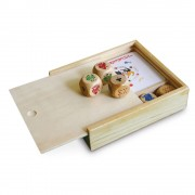 Set jocuri 2-in-1, in cutie de lemn, 103x97x25 mm, Everestus, SGS04, lemn, natur, 2 bastonase gonflabile incluse