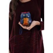 Portofel albastru, ROH , bufnita - A0237
