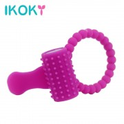 IKOKY Penis Rings Delay Rings For Male Sex Products For Men Cock Rings Silicone Tongue Ring Vibration Clitoris stimulator