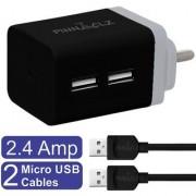 Pinnaclz Combo of Dual USB 2.4 Amp Wall Charger (Black-Grey) + 2 pcs 3 Feet Sync Charge Micro USB Data Cable 2.4 Amp
