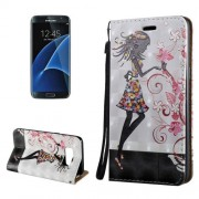 Samsung Galaxy S8 Plus Case, 3D Relief Butterfly Flower Fairy Pattern Magnetic Adsorption Horizontal Flip Leather Case with Holder & Card Slots & Lanyard
