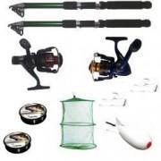 Pachet de pescuit sportiv cu 2 lansete 2 mulinete 2 gute monturi si racheta de nadit eastshark 3.6 m