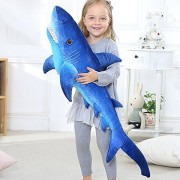 BESTLEE Realistic Blue Shark Plush Large Stuffed Animal Toy 33 Inch