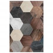 Floorart Tapis vinyle Hexagone bois/marbre - 66x180 cm