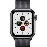 Apple Wie neu: Apple Watch Series 5 40 mm Edelstahl GPS + Cellular schwarz Milanaise Armband schwarz