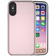 Para IPhone X PC + TPU Antideslizante Protector Cromado, Pulse El Boton Volver Funda (oro Rosa)