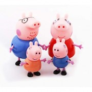 iDream Peppa Pig Family PVC Toy Set Gift for Kids (Set of 4)