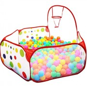 Kids Ball Pit Ball Tent Toddler Ball Pit with Basketball Hoop and Storage Bag Sea Ball Pool for Fun Healthy Toddlers Kids Playpen Play Time with Indoor Playhouse | 4 Ft / 120CM |