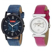 Laurex Blue Analog Leather Watches for Lovely Couple Combo-LX-026-LX-026