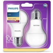 Set 2 becuri LED Philips, E27, 13W (100W), 1521lm, lumina alba calda
