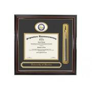 Signature Announcements University of Florida (UF) Marco de Diploma de graduación y graduación con Sello de lámina esculpida, Nombre y Borla (Caoba Brillante con Acento Dorado, 23 x 24)