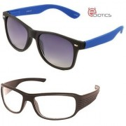 Ediotics Classic Blue with Black Wayfarer Transparent Night Driving Sunglasses