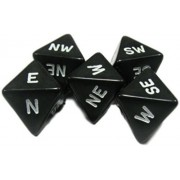 Custom & Unique {Standard Medium 16mm} 5 Ct Pack Set Of 8 Sided [D8] Square Cube Shape Playing Game Dice Made Of Plastic W/ Rounded Corner Edges W/ Compass Direction Design [Black & White]